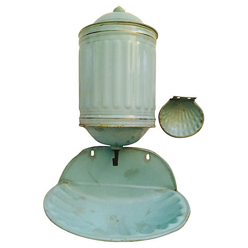 Antique French Enamel Shell Lavabo Set