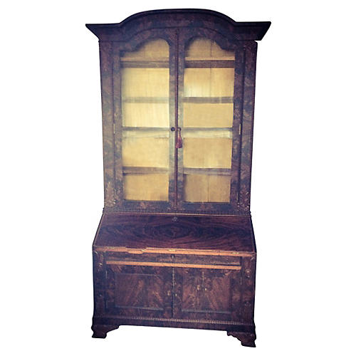 19th-C. Flame Mahogany Secretary