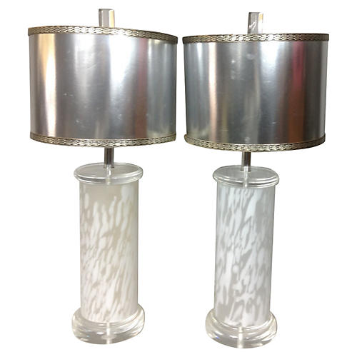 1960s Modern Lucite & Glass Lamps, Pair