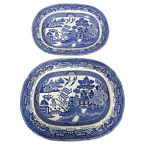 19th-C English Blue Willow Platters, S/2