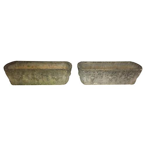 1940s Greek Key Concrete Planters, S/2