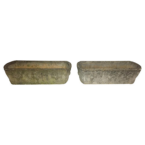 1940s Greek Key Concrete Planters, S/2
