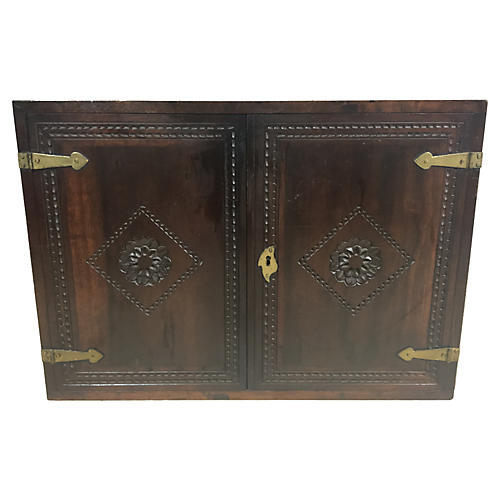 19th-C. Walnut Campaign Trunk
