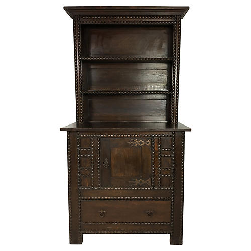 19th-C. English Oak Spool Carved Cabinet