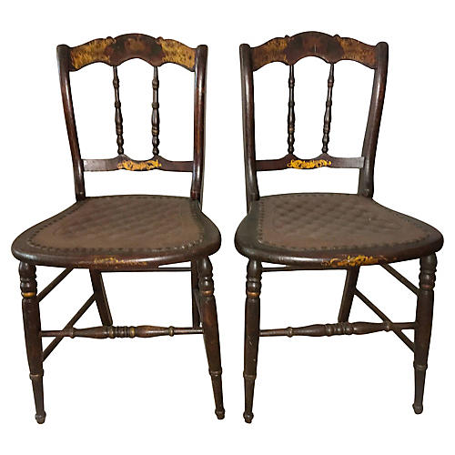 Petite 19th-C. Tole Painted Chairs, Pair