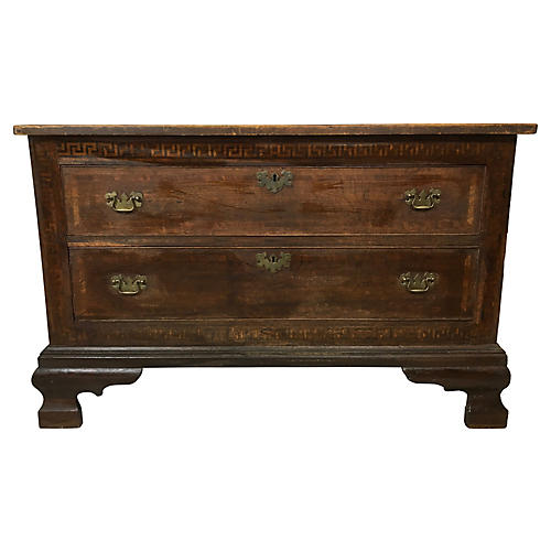 19th-C. Inlaid Walnut English Chest