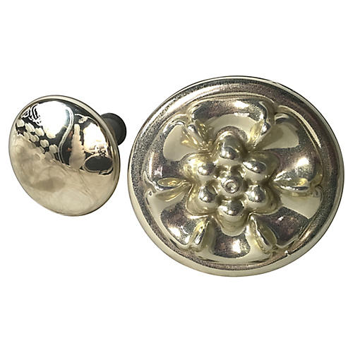 Mercury Glass Knobs, 2-Pcs