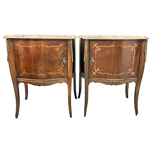 French Marble Top Side Tables,Pair