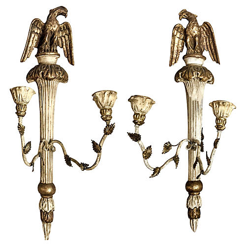 Giltwood Federal Style Sconces, S/2