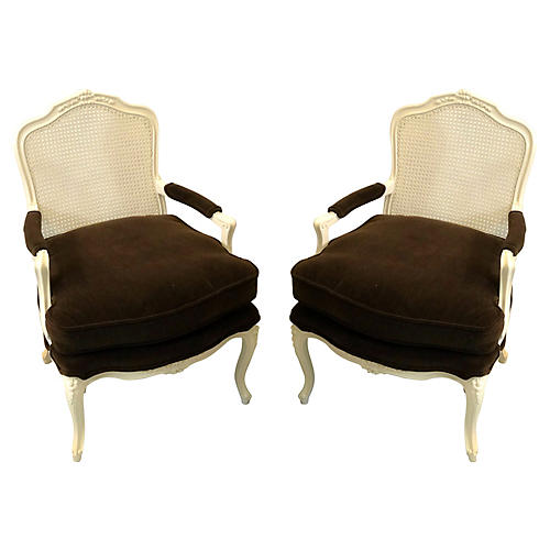 French Style Mohair Chairs, Pair