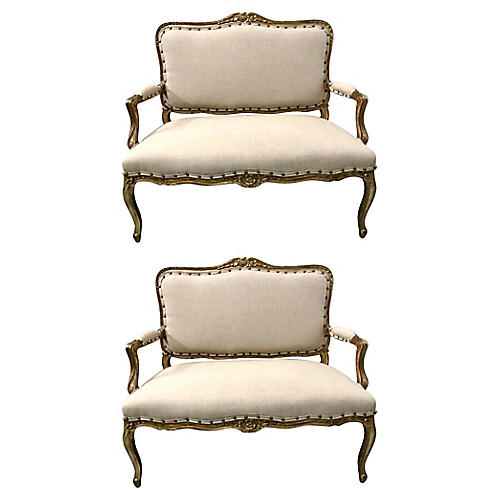 Gilded French Settees, Pair