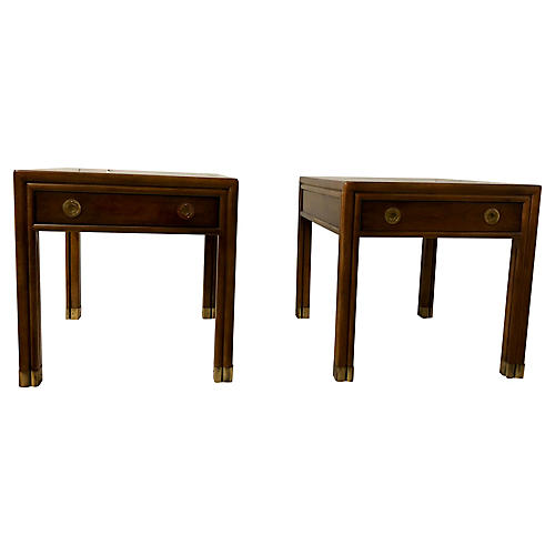 Henredon Campaign Style Side Tables,Pair