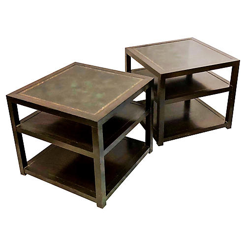 Grosfeld House Leather Side Tables,Pair