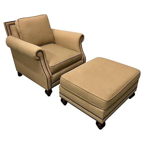 Bernhardt Club Chair & Ottoman