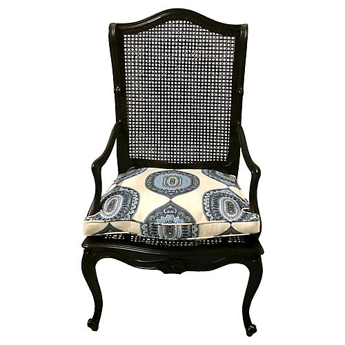 Black Lacquer Caned Armchair