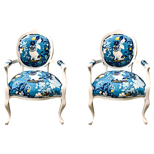 Kreiss Armchairs in Madcap Cottage,Pair