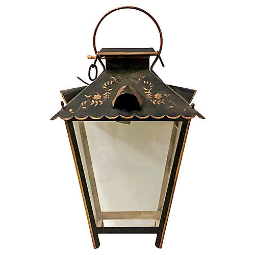 Signed FrenchTole Painted Lantern
