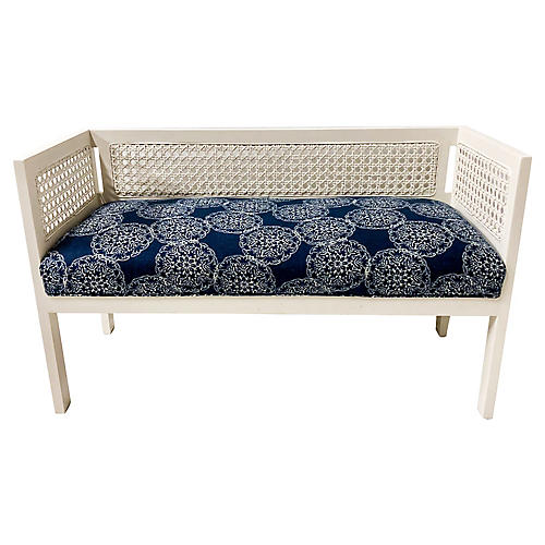 Caned Bench w/ Linen Seat
