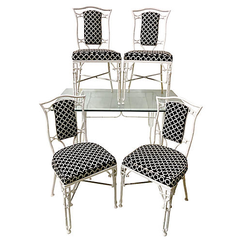 Chinese Chippendale Patio Set, S/5