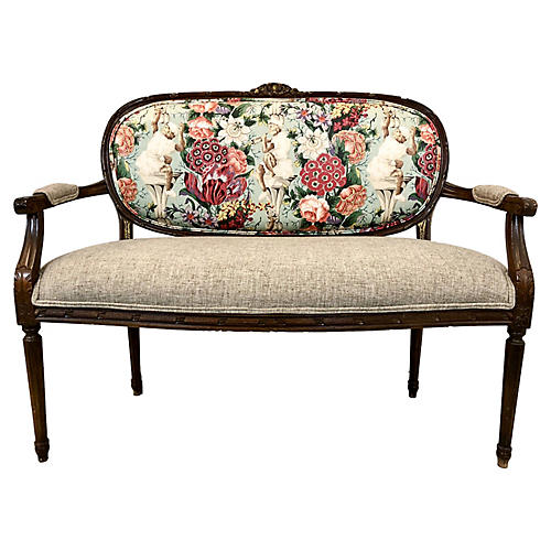 Chinoiserie Chintz French Style Settee