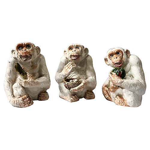 Italian Ceramic Monkeys,S/3