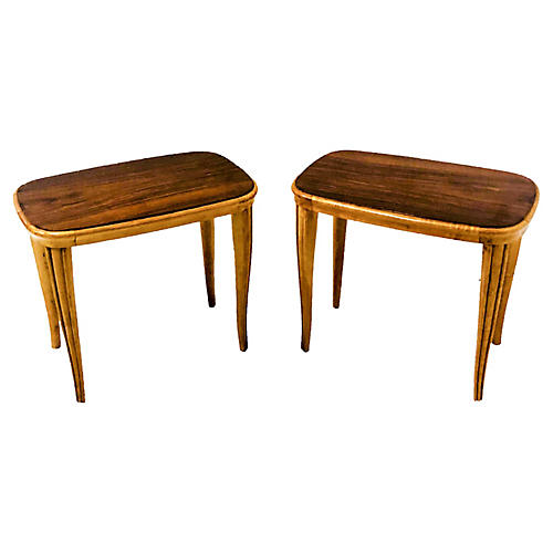 Modern African Mahogany Tables,Pair