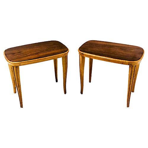 Modern African Mahogany Tables,Pair