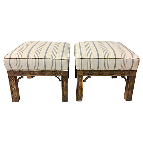 Chinese Chippendale Style Ottomans, Pair