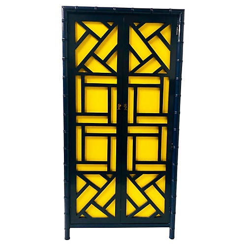 Hollywood Regency Faux-Bamboo Armoire