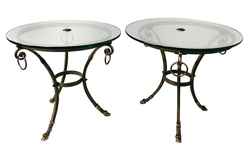 Brass & Steel Gueridon End Tables, Pair