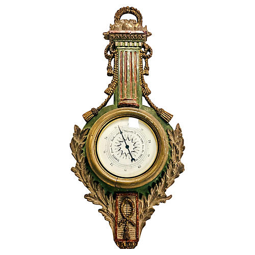Giltwood French Style Palladio Barometer