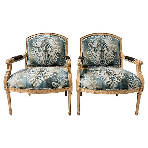 Linen Ikat Carved Bergere Chairs,Pair