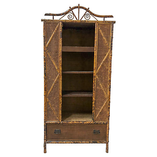 Antique English Bamboo Bookcase