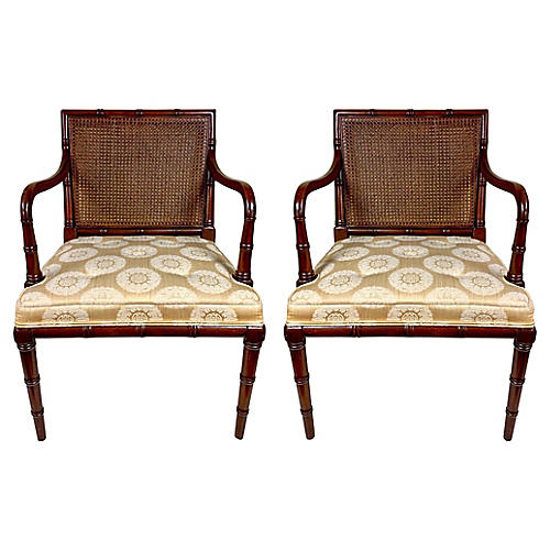 Hickory Furn Faux Bamboo Chairs,Pair