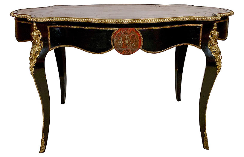 Antique Leather & Bronze French Desk