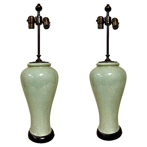 Asian-Style Celadon Lamps, Pair