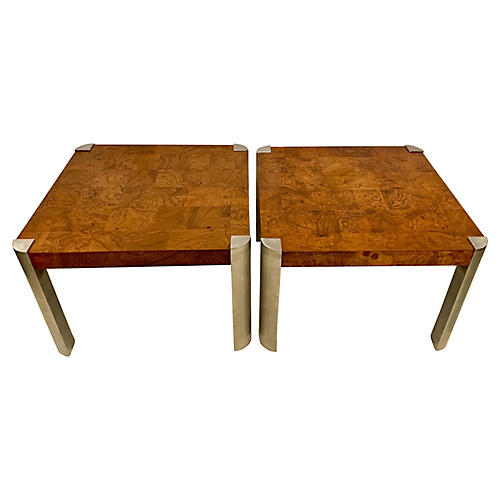 Burlwood Tables att. Milo Baughman, Pair