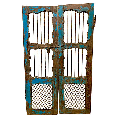 Painted Early French Shutters, Pair