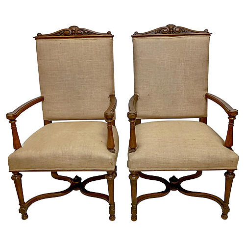 Early 20th-C. French Oak Armchairs,Pair