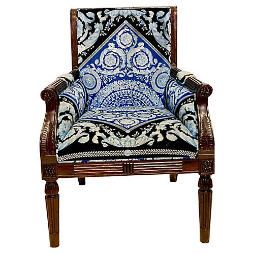 Carved Mahogany Versace Armchair