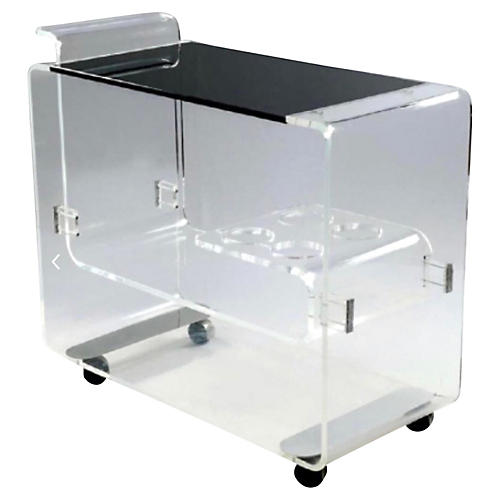 Lucite Bar Cart Att. To Lion in Frost