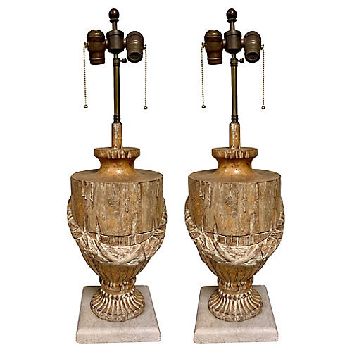 19th-C. Carved French Urn Lamps,Pair