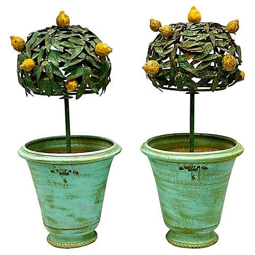 1960s French Tole Lemon Trees w/ Pot
