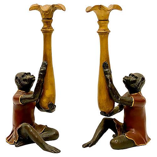 Chinoiserie Monkey Candlesticks,Pair