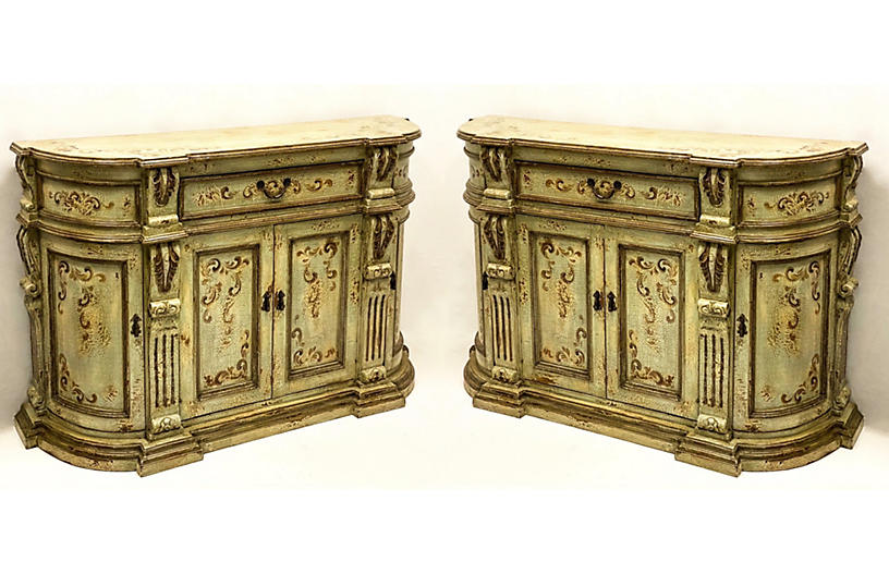 Hand Painted Cabinets, Pair
