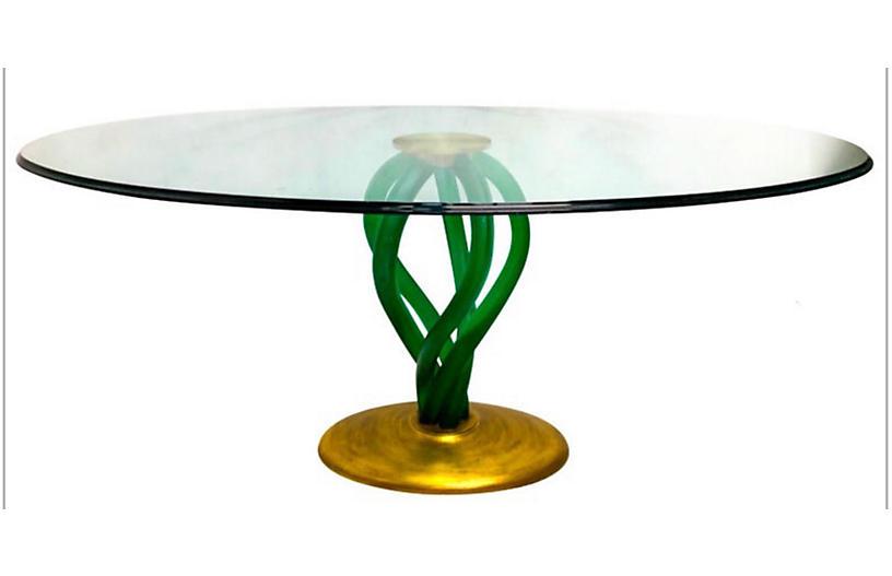 1970s Modern Lucite & Gilt Dining Table