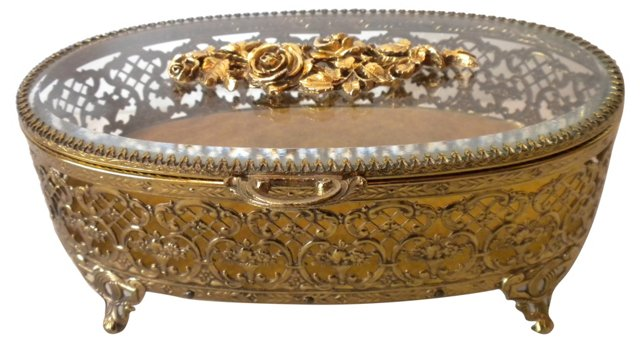 Oval Filigree Vanity Box