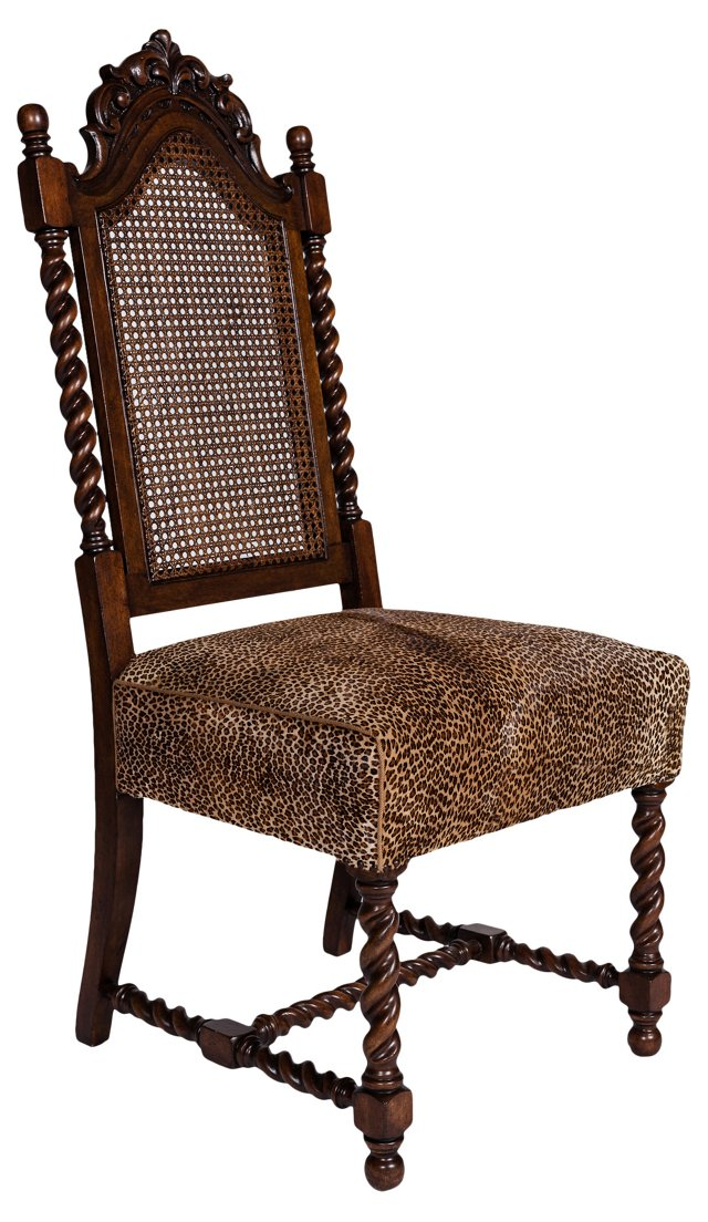 Hand-Carved Cane-Back Chair