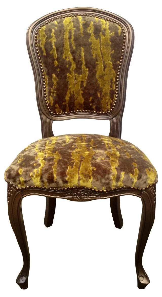 Moss-Green Velvet French Side Chair