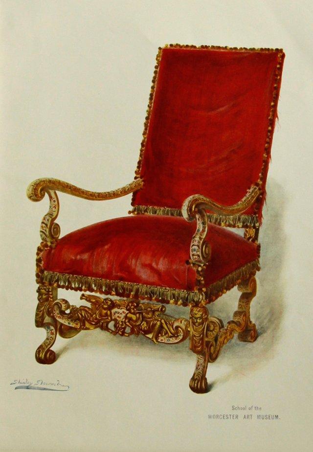 Red Velvet Gilt Chair by Slocombe, 1905